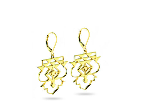 """Icnoyotl"" Friendship, Earrings in Yellow Gold"