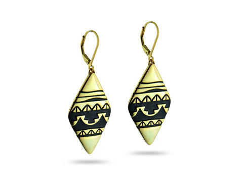 """Water Waves"" Symbol of Life Cycles, Earrings I Yellow Gold"