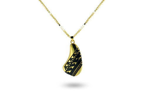 """Water Waves""  Symbol of Life Cycles, Necklace Yellow Gold"