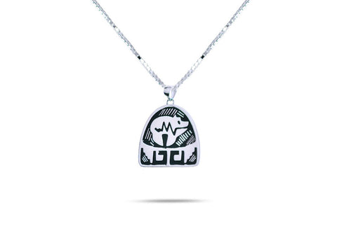 """Bear"", Symbol of Strength and Leadership, Necklace White Gold"