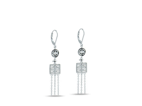 """Xi"", Happiness Earrings in White Gold"