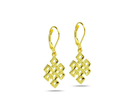 """Srivatsa"" A Knot representing Karmic Consequences, Earrings Yellow Gold"
