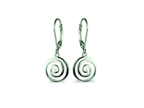 """Spiral"" The Circle of Life, Ear Danglers in White Gold"