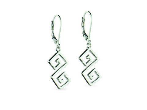 """Meandros"" Key- The Symbol of Eternity, Earrings in White Gold"