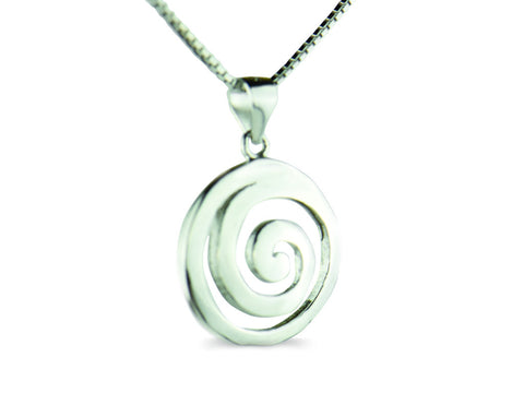 """Spiral"" The Circle of Life, Necklace in White Gold"