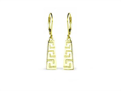 """Meandros"" Key- The Symbol of Eternity, Ear Danglers in Yellow Gold"