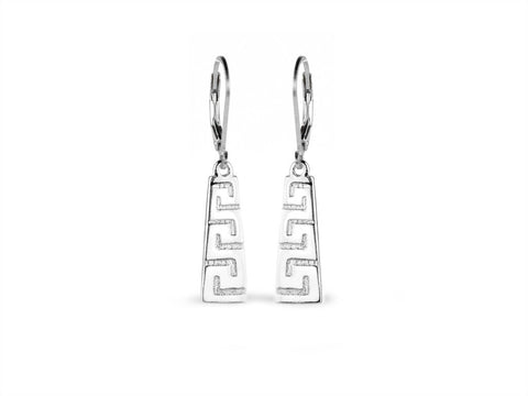 """Meandros"" Key- The Symbol of Eternity, Ear Danglers in White Gold"