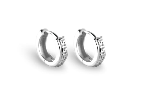 """Meandros"" Key- The Symbol of Eternity, Small Earrings in White Gold"