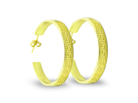 """Meandros"" Key- The Symbol of Eternity, Hoop Earrings in Yellow Gold"
