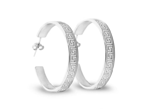 """Meandros"" Key- The Symbol of Eternity,  Hoop Earrings in White Gold"