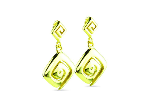 """Meandros"" Key- The Symbol of Eternity, Earrings in Yellow Gold"