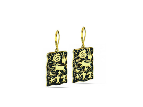"""Hand"", Symbol of Achievement and Legacy Earrings Yellow Gold"