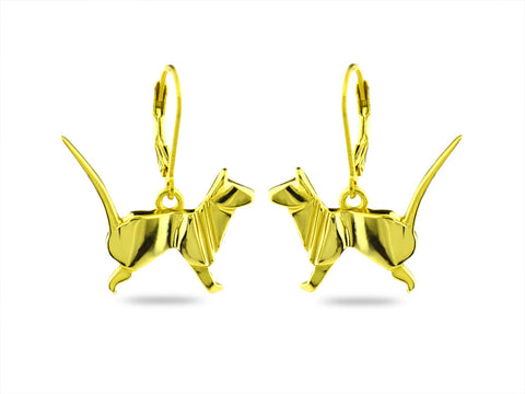 """Origami"" Cat Earrings, Yellow Gold"