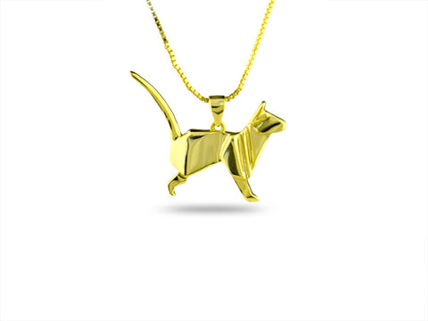 """Origami"" Cat Necklace Yellow Gold"