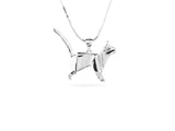 """Origami"" Cat Necklace, White Gold"