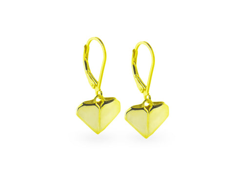 """Origami"" Heart Earrings, Yellow Gold"
