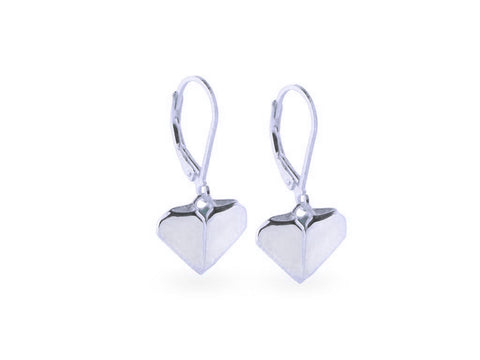 """Origami"" Heart Earrings, White Gold"