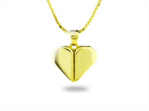 """Origami"" Heart Necklace, Yellow Gold"