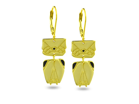 """Origami"" Owl Earrings, Yellow Gold"