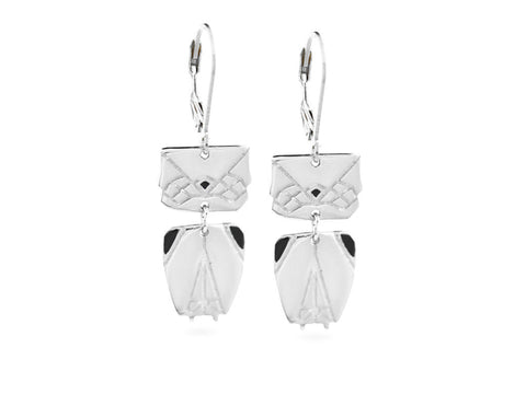 """Origami"" Owl Earrings, White Gold"