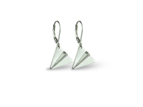 """Origami"" Paper Airplane Earrings, White Gold"