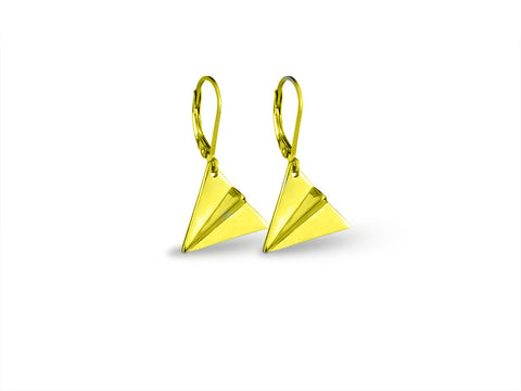 """Origami"" Paper Airplane Earrings, Yellow Gold"