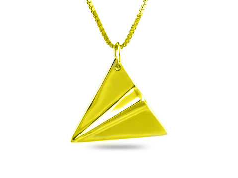 """Origami"" Paper Airplane Necklace, Yellow Gold"