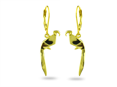 """Origami"" Parrot Earrings, Yellow Gold"