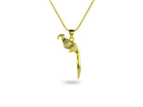 """Origami"" Parrot Necklace, Yellow Gold"