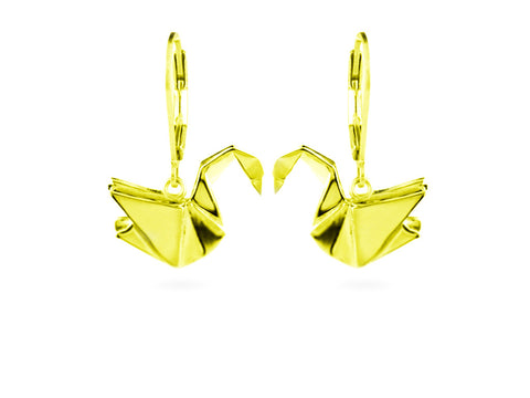 """Origami"" Swan Earrings, Yellow gold"