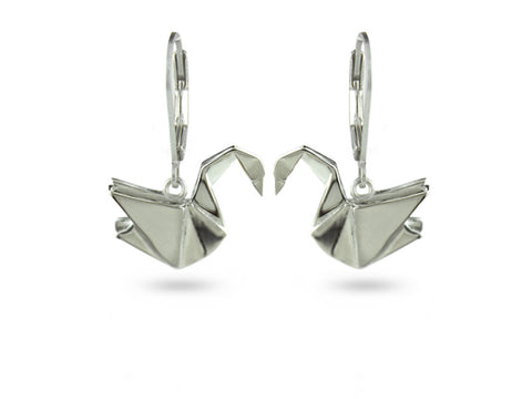 """Origami"" Swan Earrings, White gold"