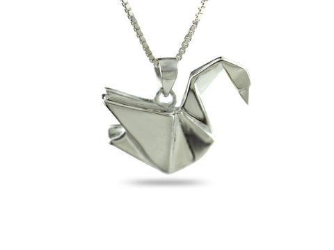"""Origami"" Swan Necklace, White Gold"