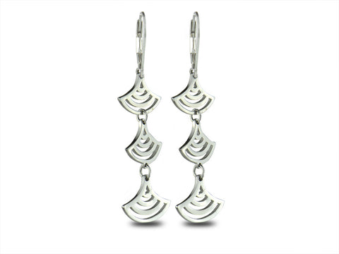 """Seigaiha"" Blue Wave of the Sea Earrings, White Gold"