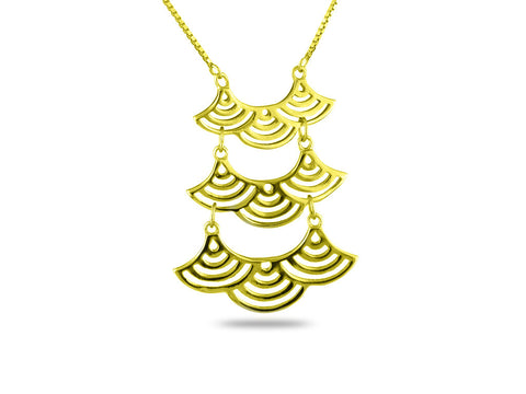"""Seigaiha"" Blue Wave of the Sea, Necklace Yellow Gold"
