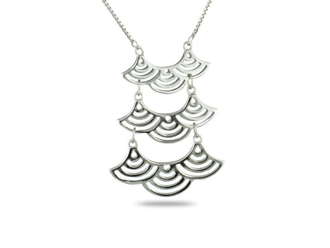 """Seigaiha"" Blue Wave of the Sea, Necklace White Gold"