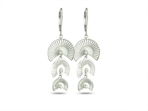 """Sensu"" The Fan, Earrings in White Gold"
