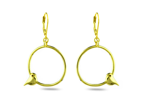 """Tori"" The Bird, Earrings in Yellow Gold"