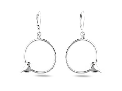 """Tori"" The Bird, Earrings in White Gold"