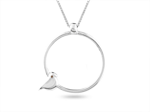 """Tori"" The Bird, Necklace in White Gold"