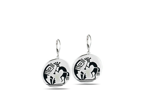 """Kokopelli"", Symbol of Fertility and Good Crop Earrings White Gold"