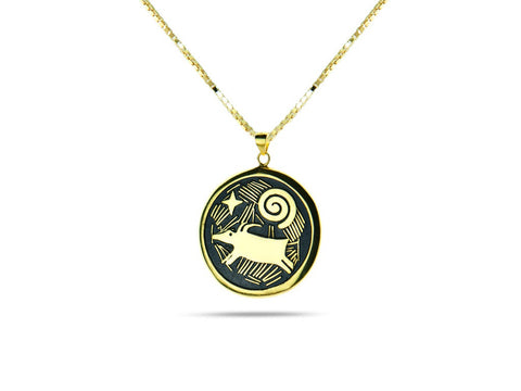 """Morning Star"" Symbol of Hope and Guidance, Necklace Yellow Gold"