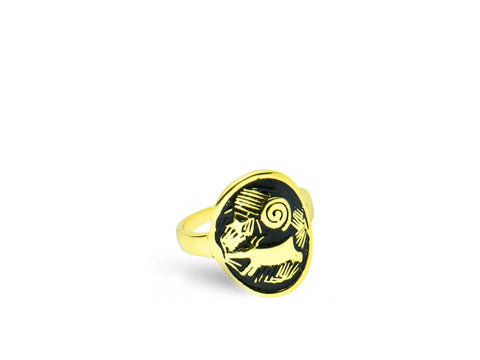 """Morning Star"" Symbol of Hope and Guidance, Ring Yellow Gold"