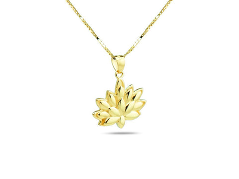 """Lotus"", A Symbol of Spiritual Unfoldment Necklace Yellow Gold"