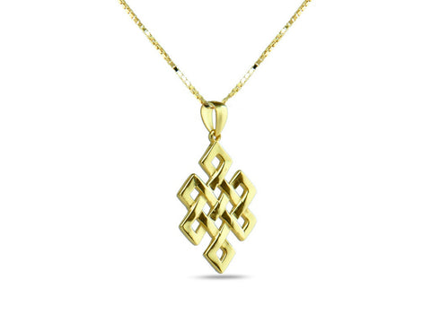 """Srivatsa"" A Knot Representing Karmic Consequences, Necklace Yellow Gold"