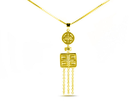 """Xi"", Happiness Necklace in Yellow Gold"