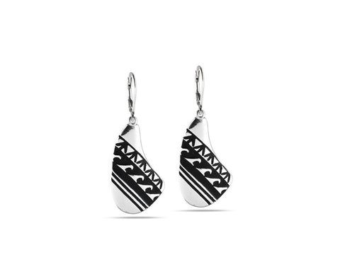 """Water Waves""  Symbol of Life Cycles, Earrings III White Gold"