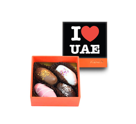 I Love UAE Black Small Square Chocolate Covered Dates Gift Box