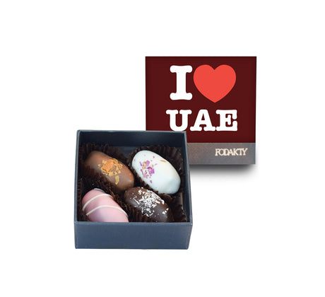 I Love UAE Red Small Square Chocolate Covered Dates Gift Box