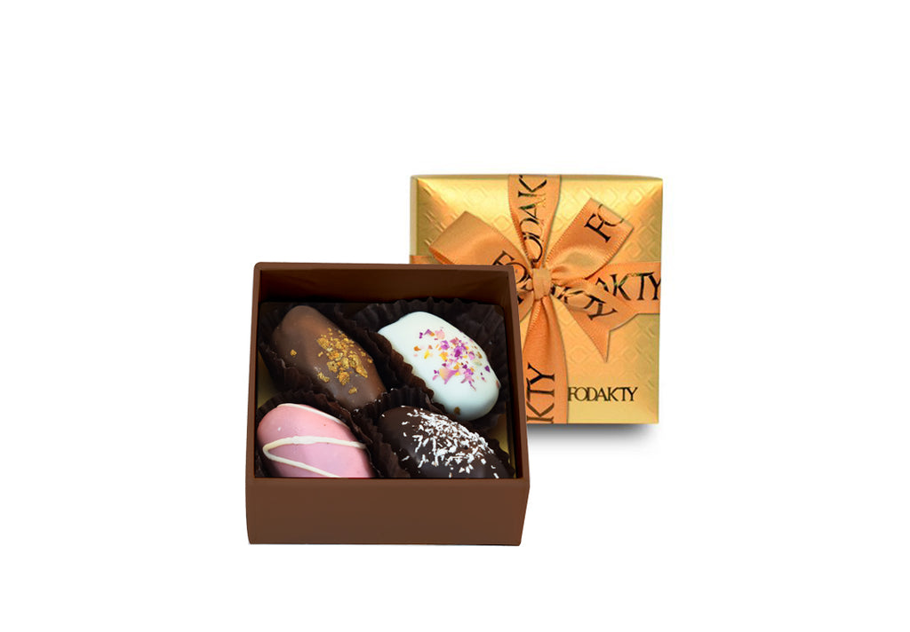 Fodakty Elegance Square Small Chocolate Covered Dates Gift Box