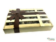 Date Palm Fruit Gift Box with individually wrapped assortment of dates - Wooden Hand Made box giftbox